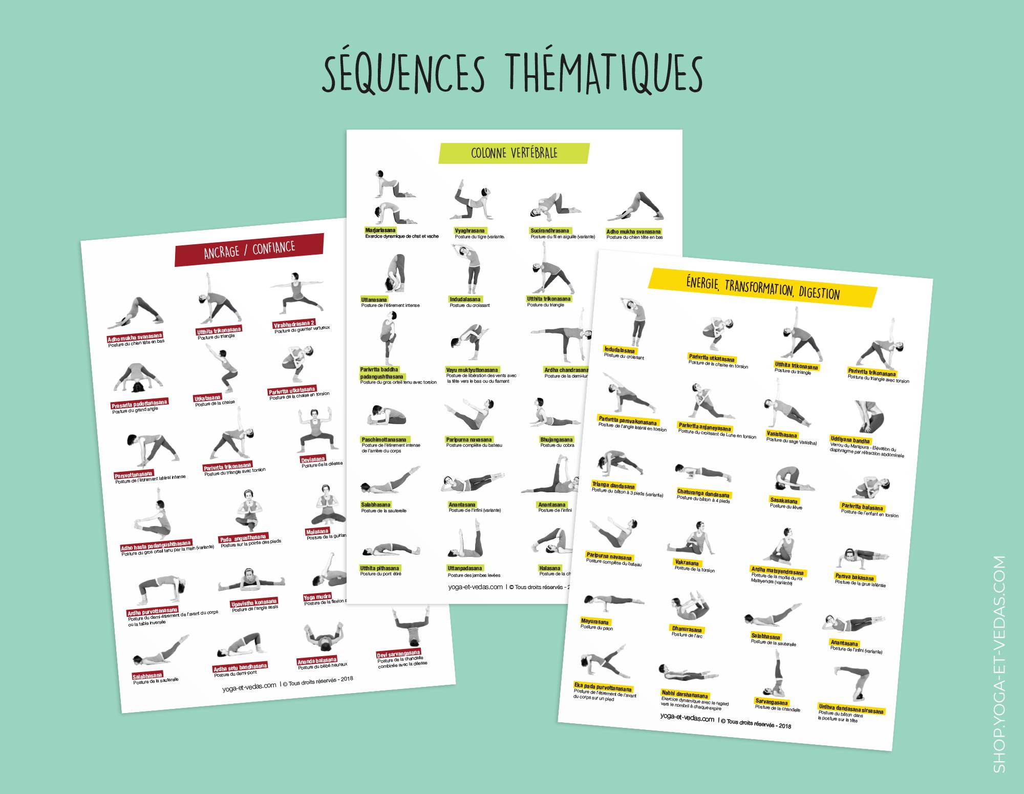 12 planches A4 de postures de yoga - Séquences thématiques - Shop Yoga&Vedas