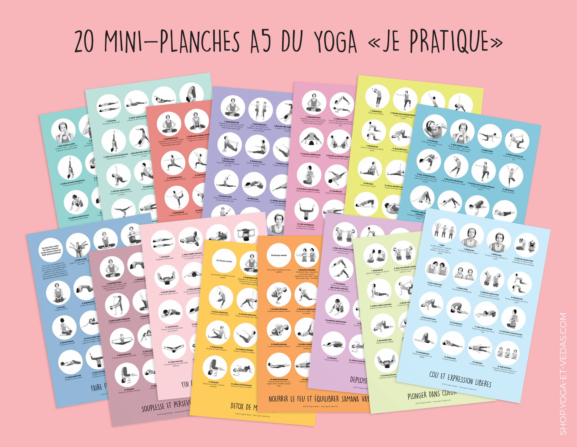 20 mini yoga posters - Shop Yoga&Vedas