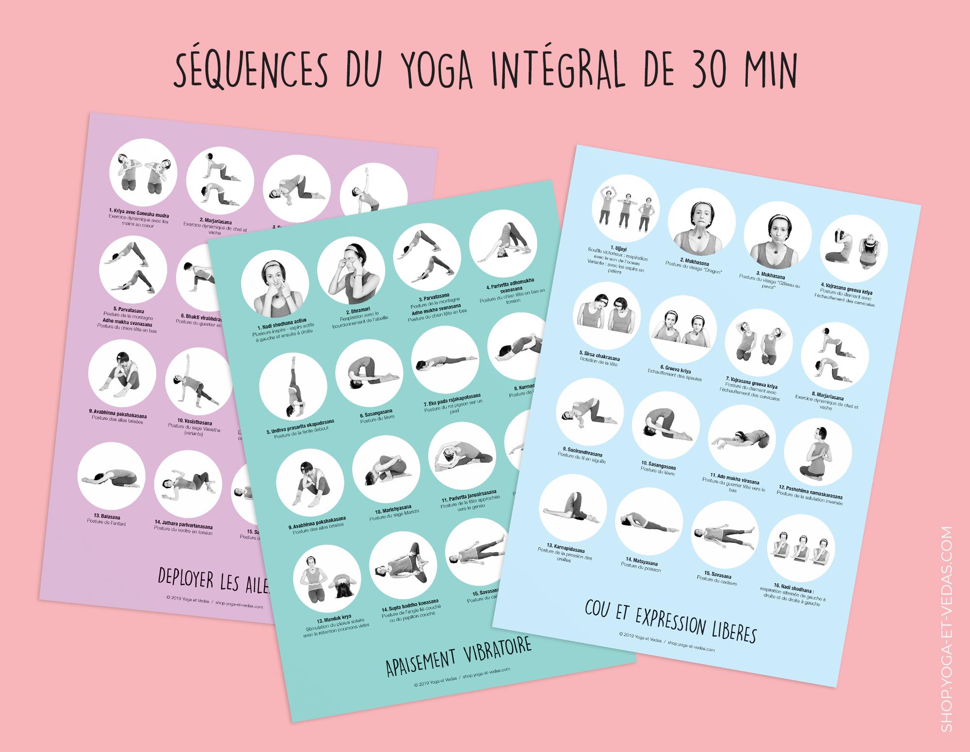 20 mini-planches séquences de yoga - Intégral 30min - Shop Yoga&Vedas
