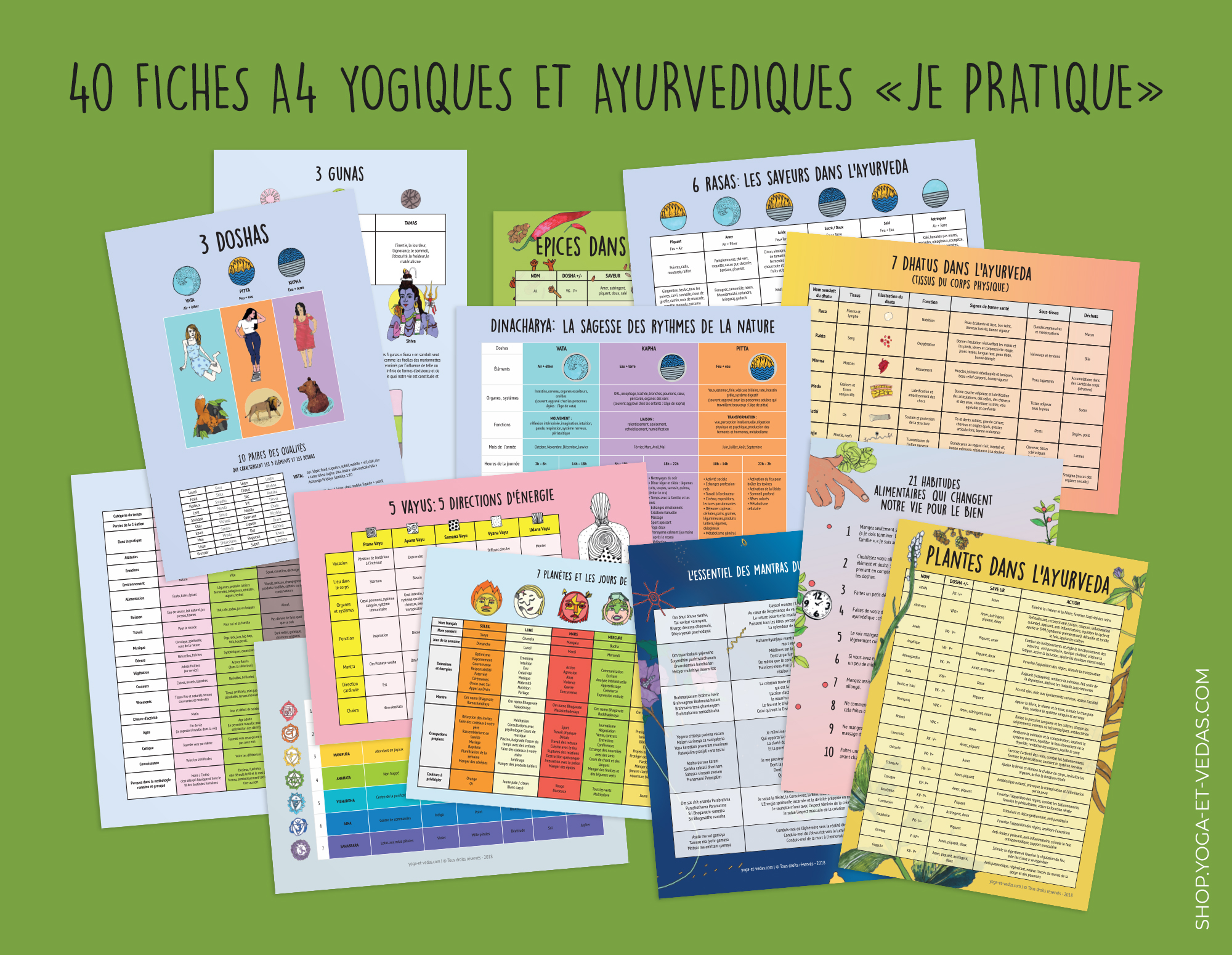 40 Fiches A4 yogiques et ayurvédiques - Shop Yoga&Vedas