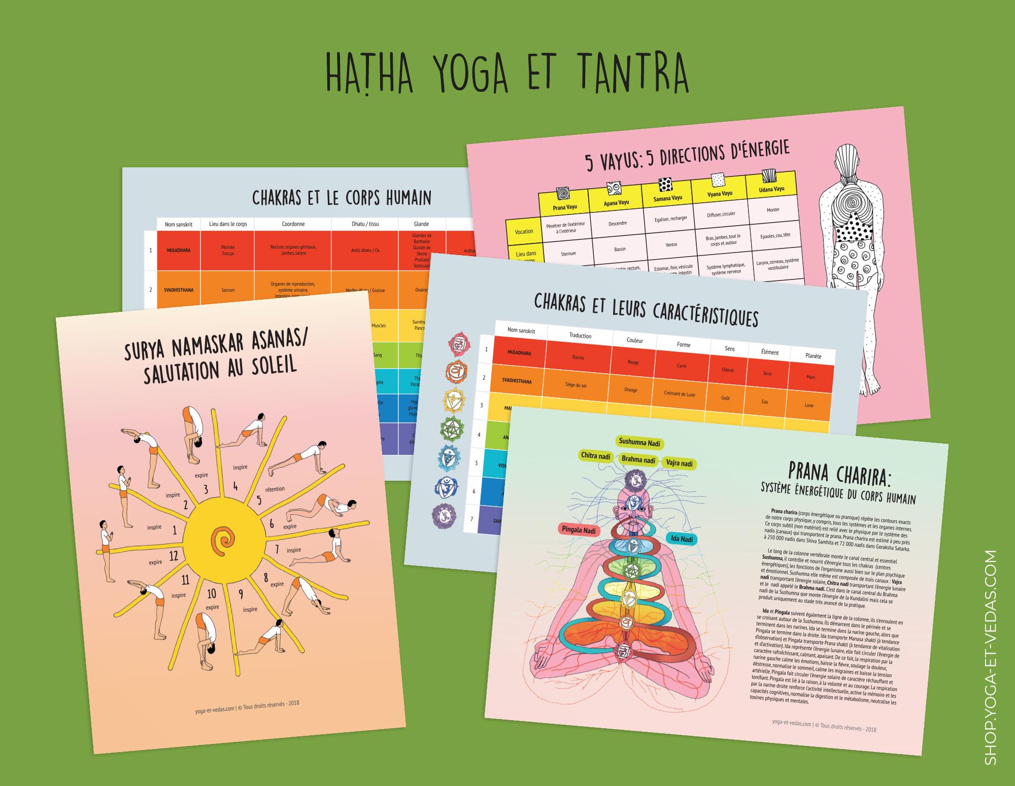 40 Fiches A4 yogiques et ayurvédiques - Hatha Yoga et Tantra - Shop Yoga&Vedas