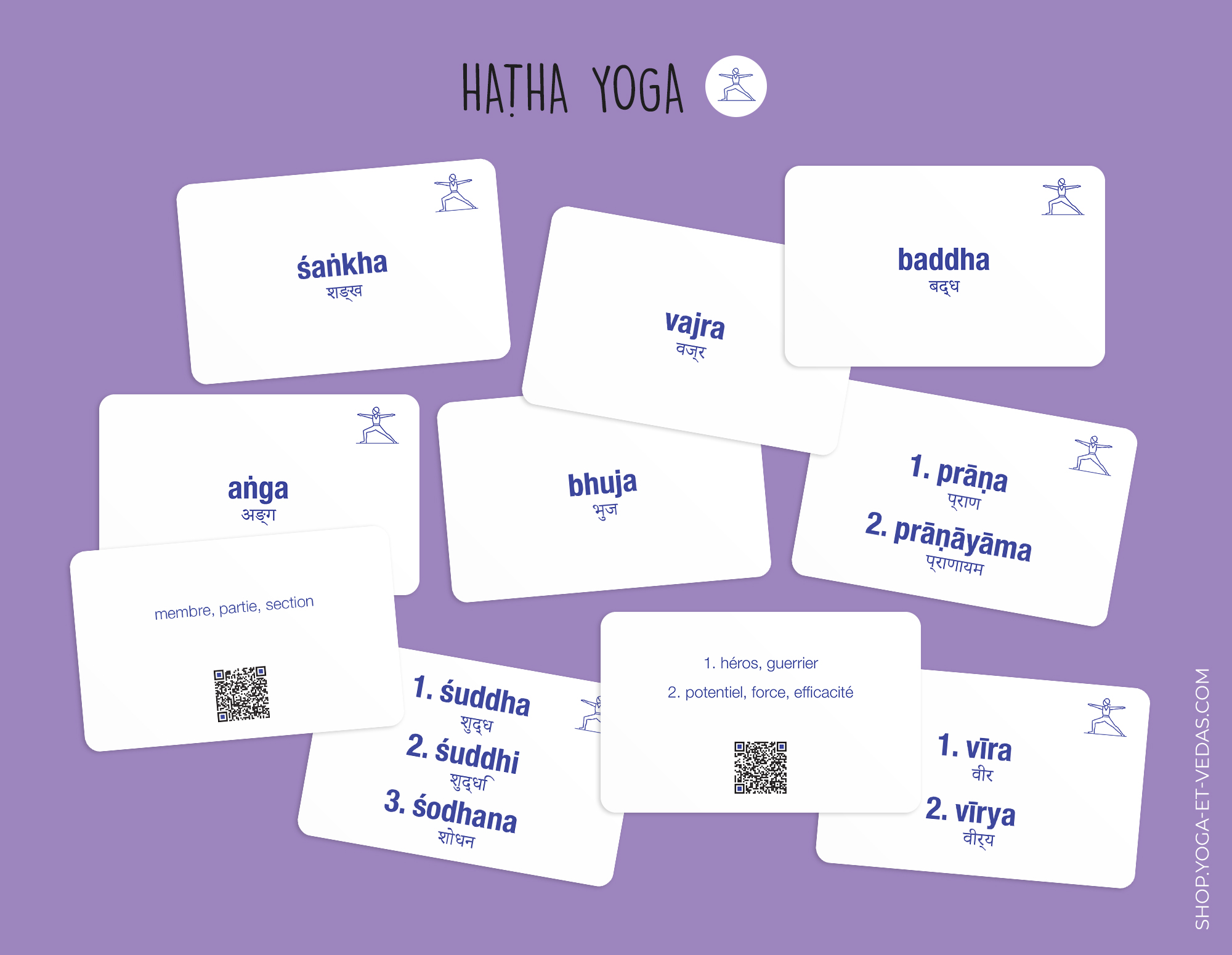 240 cartes de Sanskrit - Hatha Yoga - Shop Yoga&Vedas