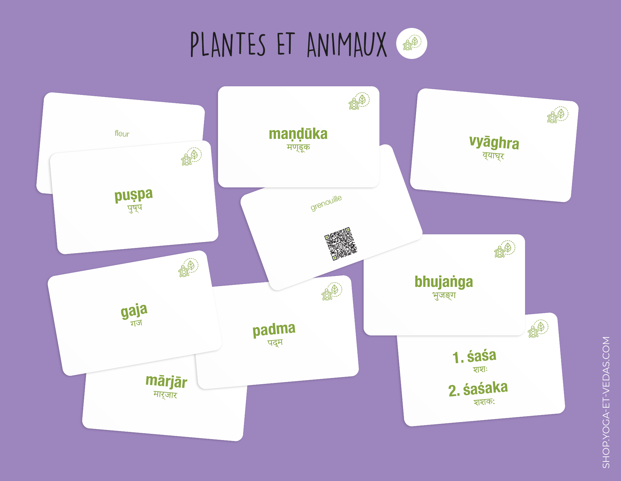 240 cartes de Sanskrit - Plantes et Animaux - Shop Yoga&Vedas