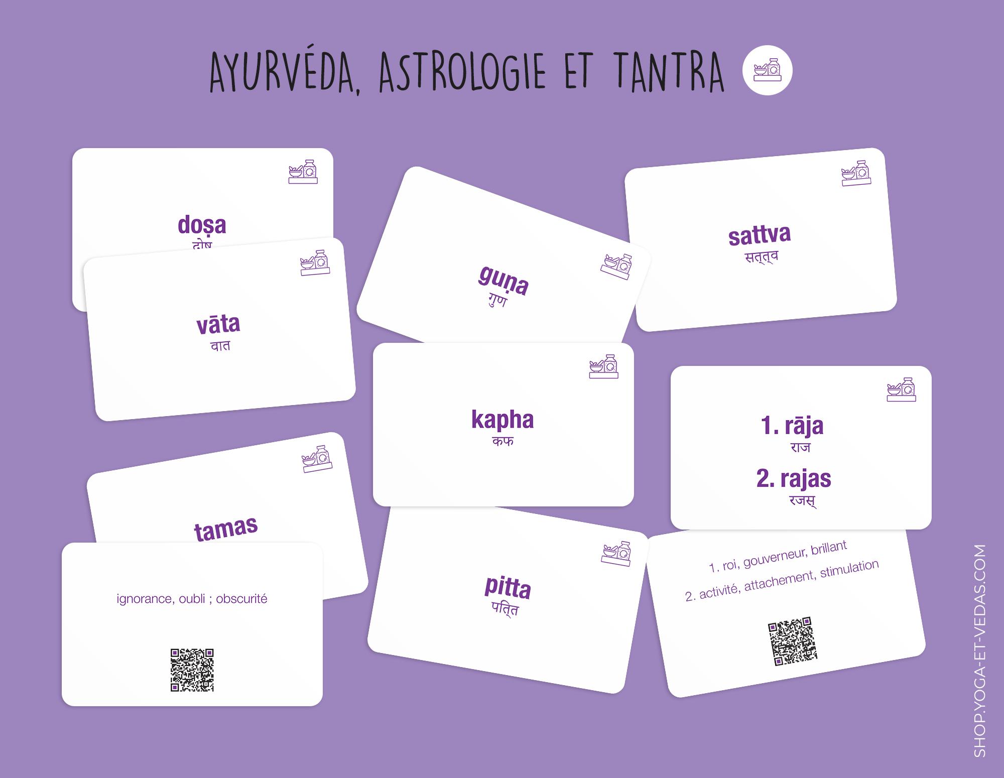 240 cartes de Sanskrit - Ayurvéda, Astrologie et Tantra - Shop Yoga&Vedas