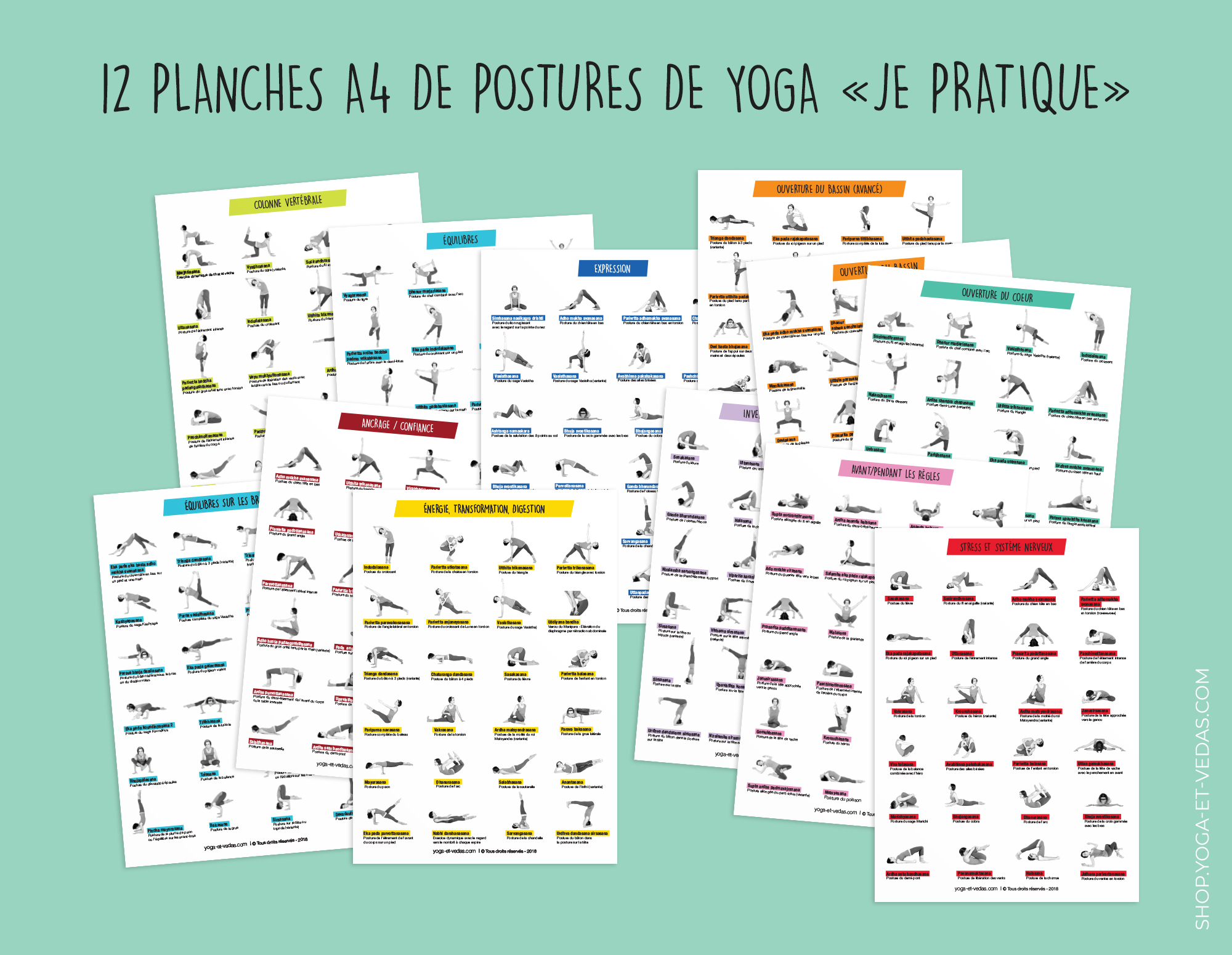 12 yoga asana posters / 27€ (AVAILABLE only in French)